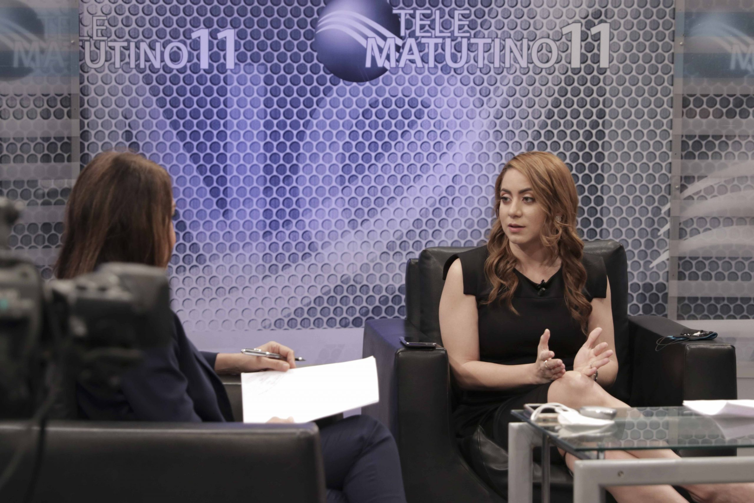Gloria Reyes mientras hablaba de los programas de Prosoli con el periodista Ramón Núnez en el programa Telematutino 11